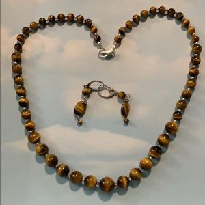 """Tiger eye graduated beads with sterling silver 18"""""""
